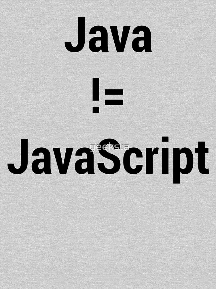Java not equals JavaScript Bugged Programmer Design - Black Text by geeksta