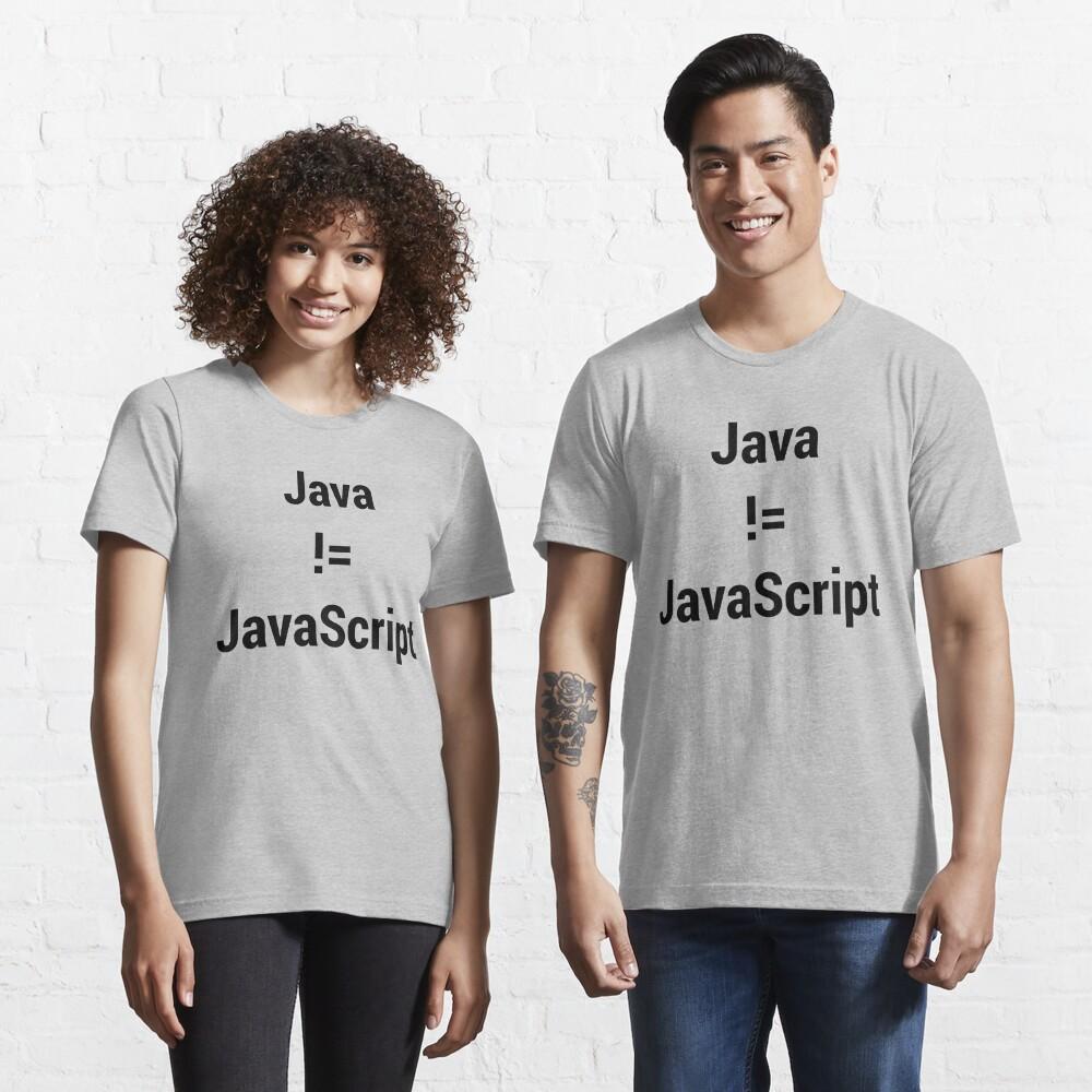 Java not equals JavaScript Bugged Programmer Design - Black Text Essential T-Shirt