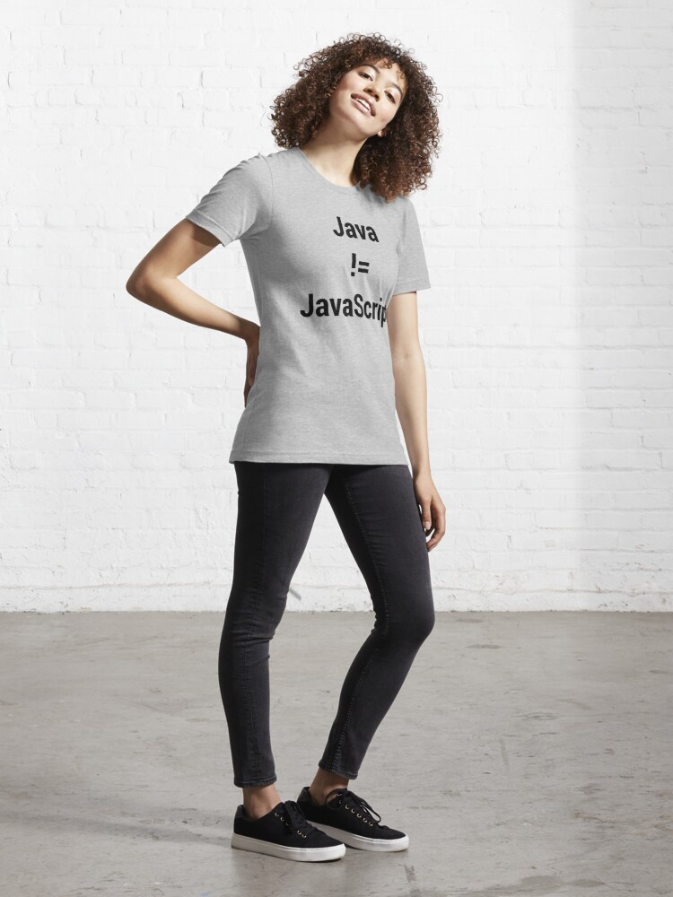 Alternate view of Java not equals JavaScript Bugged Programmer Design - Black Text Essential T-Shirt