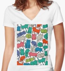 Cool Cats Women's Fitted V-Neck T-Shirt