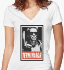 -MOVIES- Terminator Women's Fitted V-Neck T-Shirt