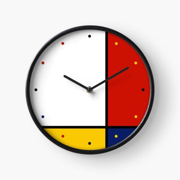 Mondrian Style Abstract Art Clock