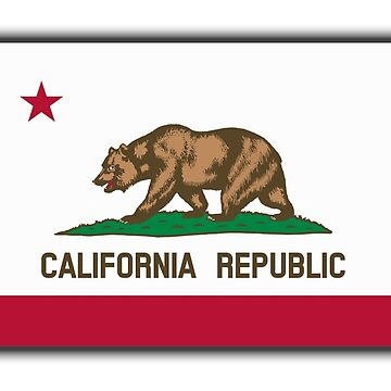 CALIFORNIA, Californian Flag, Flag of California, California Republic, America, The Bear Flag, State flags of America, American, USA, on WHITE by TOMSREDBUBBLE