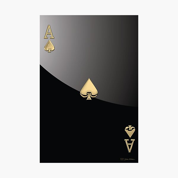 Ace of Spades in Gold over Black  Photographic Print