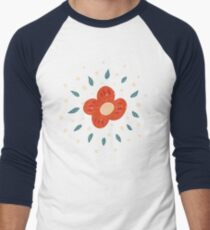 Simple Pretty Orange Flowers Pattern Men's Baseball ¾ T-Shirt