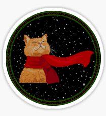 Tabby loves Snow (Knitted-version) Sticker