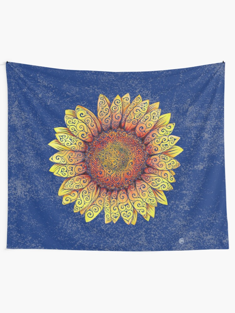 Alternate view of Swirly Sunflower Tapestry