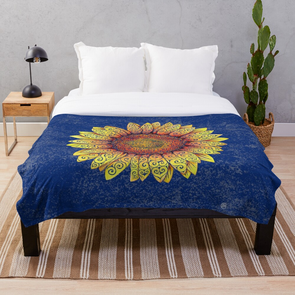 Swirly Sunflower Throw Blanket