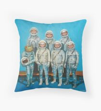 1959: Astronaut Frog's Space Race Throw Pillow