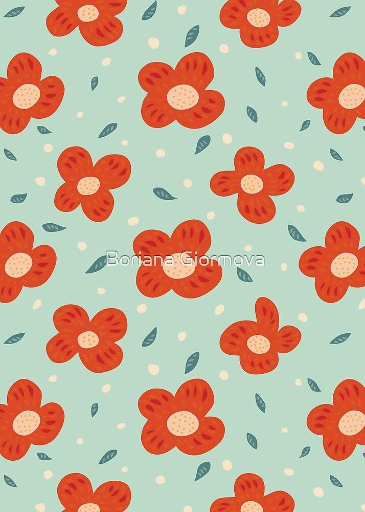 Simple Pretty Orange Flowers Pattern by Boriana Giormova