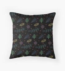 Flowers and Trees/ Black Version Throw Pillow
