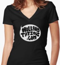 Holland Tatious Design B&W Women's Fitted V-Neck T-Shirt
