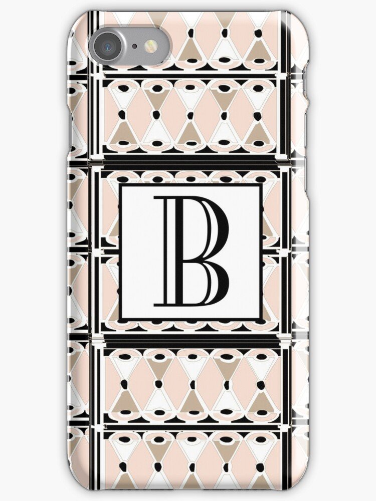 1920s Pink Champagne Deco Monogram letter B by CecelyBloom