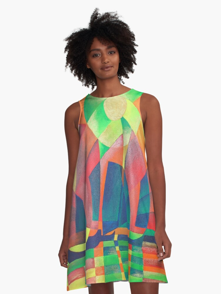 Sea of Green With Cubist Abstract Junks A-Line Dress Front
