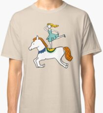 Retro Circus with Strong Man, Seals, Horse Rider and Clowns Classic T-Shirt