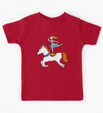 Retro Circus with Strong Man, Seals, Horse Rider and Clowns Kids Tee