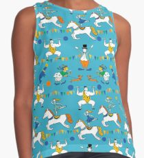 Retro Circus with Strong Man, Seals, Horse Rider and Clowns Contrast Tank