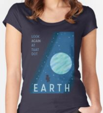 EARTH Space Tourism Travel Poster Women's Fitted Scoop T-Shirt
