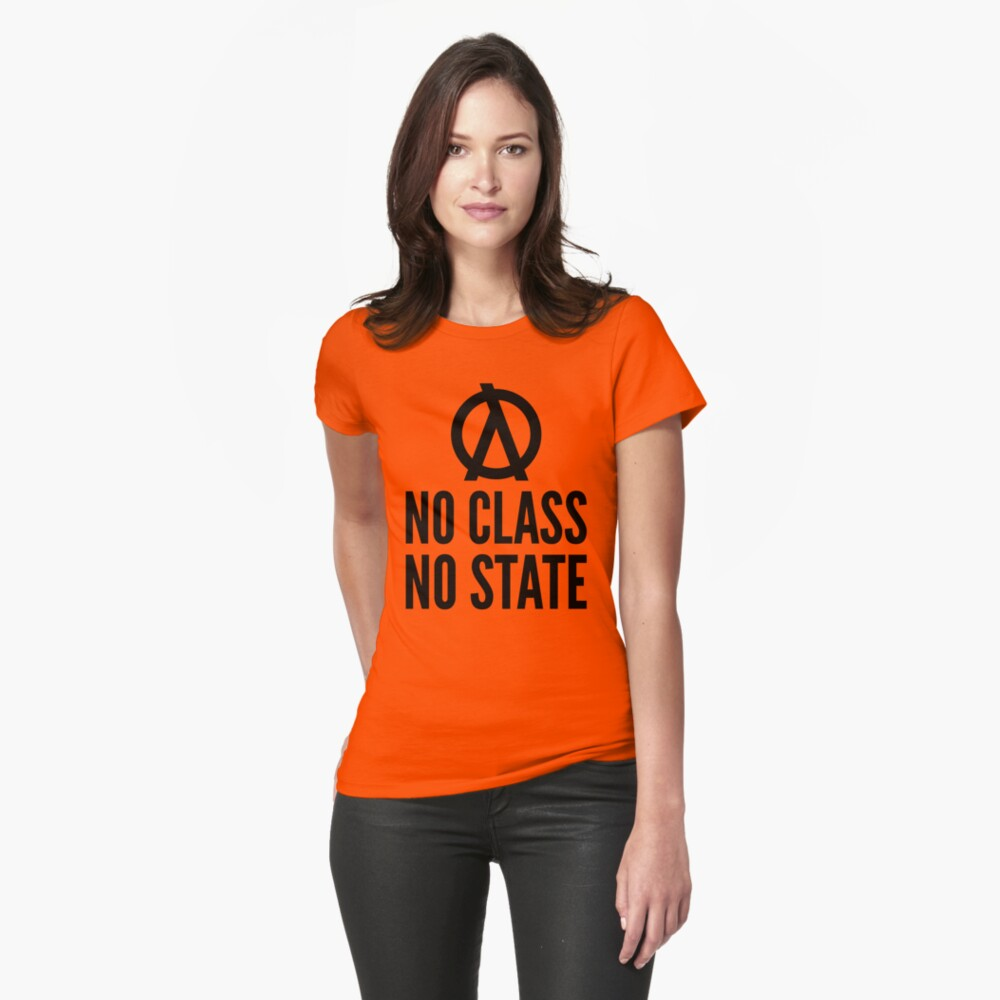 No Class No State Functional Programmer Black Text Design Fitted T-Shirt