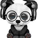 Nette tragende Kopfhörer des Baby-Panda DJ von jeff bartels