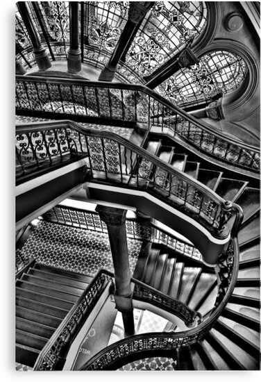 Old Style Workmanship  (Monochrome Version) - The Grand Staircase, Queen Victoria Building - The HDR Experience by Philip Johnson