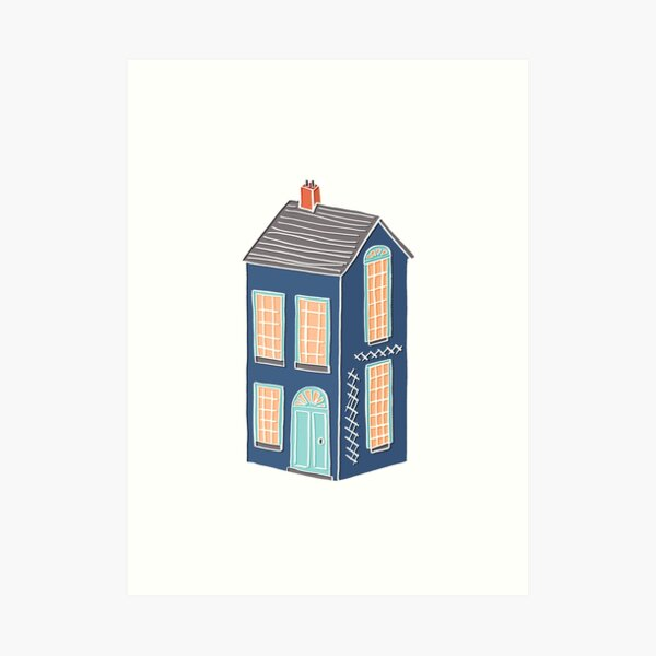 Little Townhouse Drawing Art Print