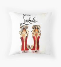 Classic Brown Red Bottom Louboutin High Heels Pumps Throw Pillow
