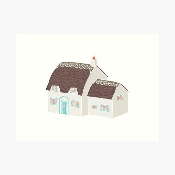 Little Cottage Drawing Art Print