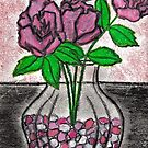 ROSES IN GLASS VAZE WITH PEBBLES by NEIL STUART COFFEY