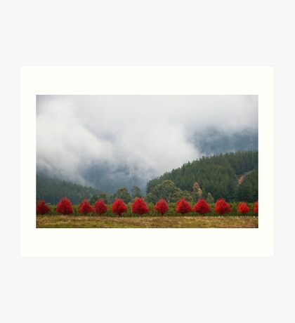a row of red Art Print