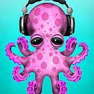 Rosa Baby Octopus Dj tragen Kopfhörer von jeff bartels