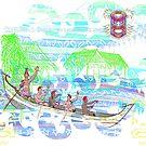 Hawaiian Rowers and Tiki  by Edward Huse