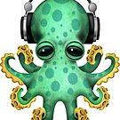Grüne Baby-Krake DJ, die Kopfhörer trägt von jeff bartels