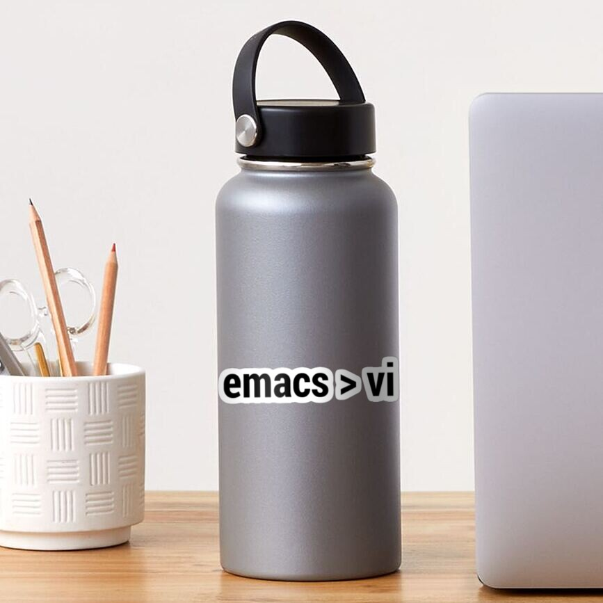 emacs greater than vi - Code Editor Flame War - Black Text Design Sticker