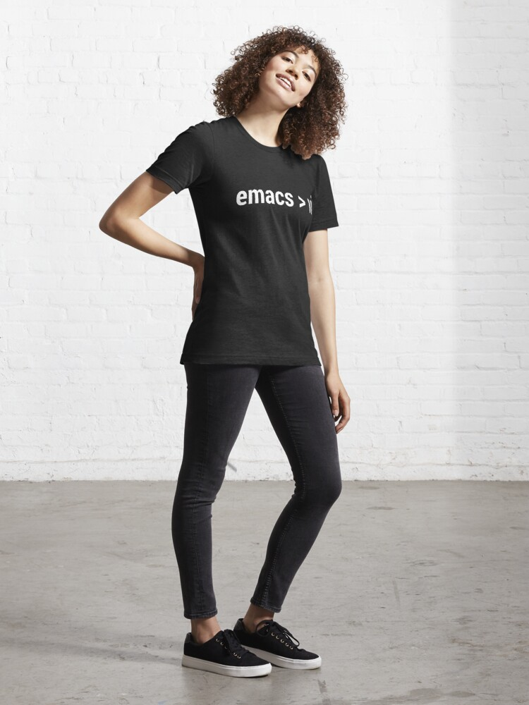 Alternate view of emacs greater than vi - Code Editor Flame War - White Text Design Essential T-Shirt