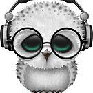Blaue Baby Owl Dj tragen Kopfhörer von jeff bartels