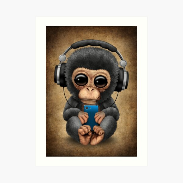 Baby Chimp Dj with Headphones and Cell Phone Art Print