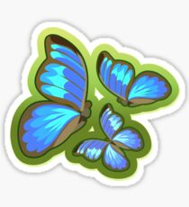 Blue-Colored Butterflies Flying, Illustration Sticker