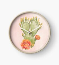 Cactus and Flowers on Blush Pink Background - Watercolour Painting Print by Magda Opoka Clock
