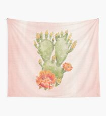 Cactus and Flowers on Blush Pink Background - Watercolour Painting Print by Magda Opoka Wall Tapestry