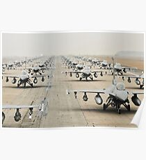 Fighter Jets Lined Up, HD Photograph Poster