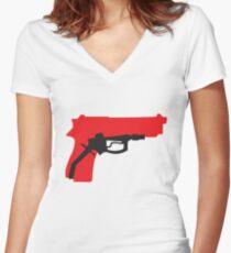 Oil Kills (white background) Women's Fitted V-Neck T-Shirt