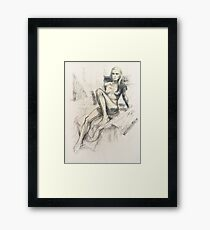 Female nude, charcoal & pastel Framed Print