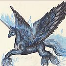 Winged Unicorn with Blue Flames by Stephanie Small