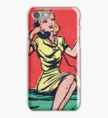 Woman on Classic Telephone iPhone Case/Skin