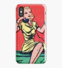 Woman on Classic Telephone iPhone Case/Skin