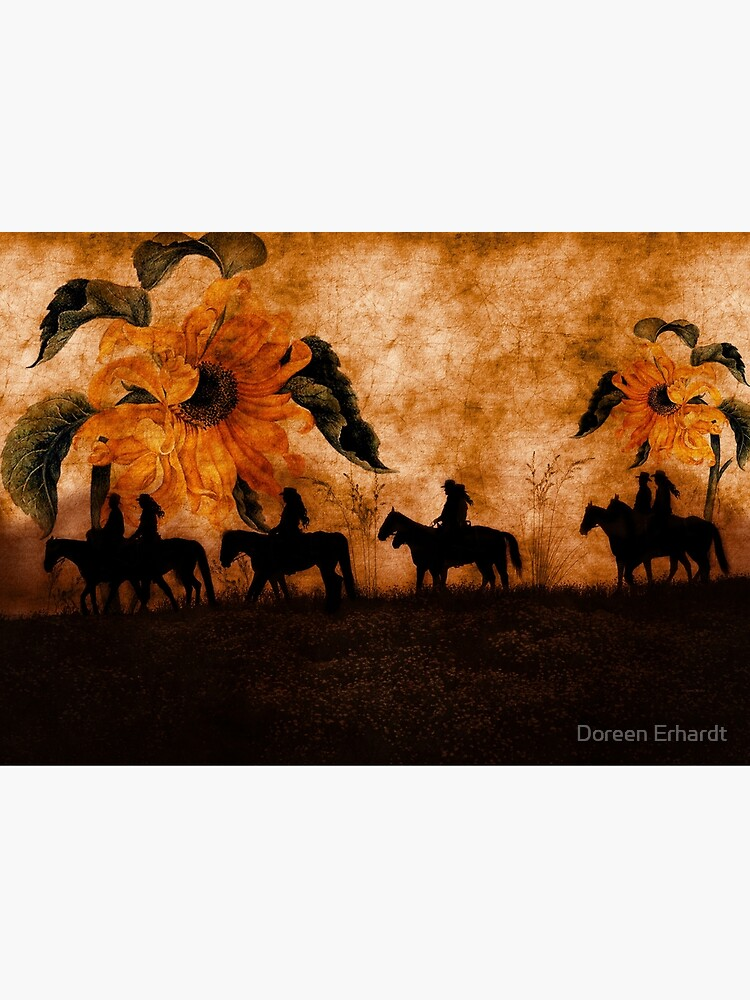 Movin' On - Western Cowgirls with Sunflowers by SalonOfArt