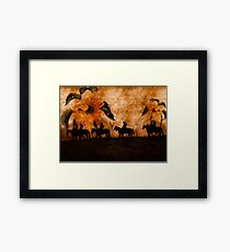 Movin' On - Western Cowgirls with Sunflowers Framed Print