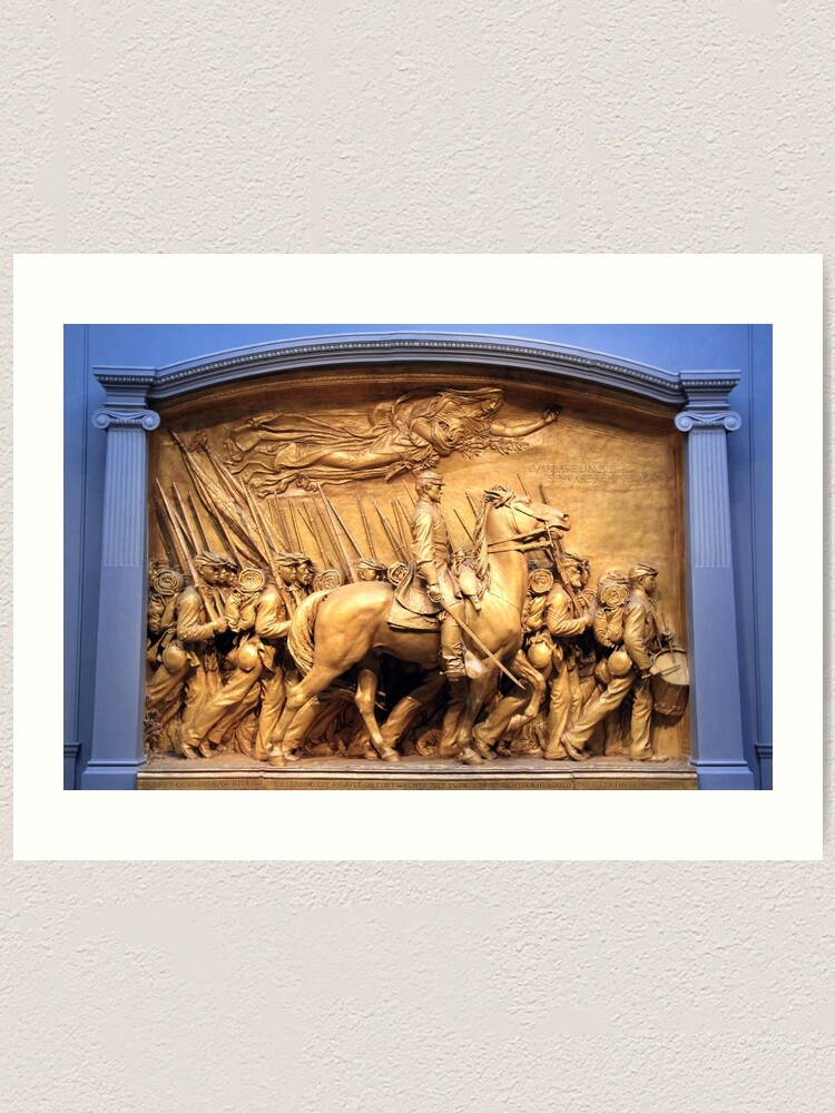 Alternate view of Saint Gaudens' The Shaw Memorial Marches On Art Print