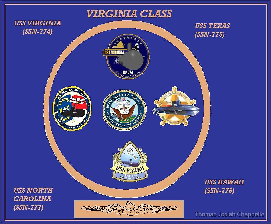 Virginia class (SSN-774 class) attack submarines by Thomas Josiah Chappelle